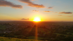 Sunset over Glastonbury, photo by Rowena Beaumont